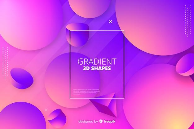 Fond de formes tridimensionnelles géométriques dégradées Vecteur gratuit