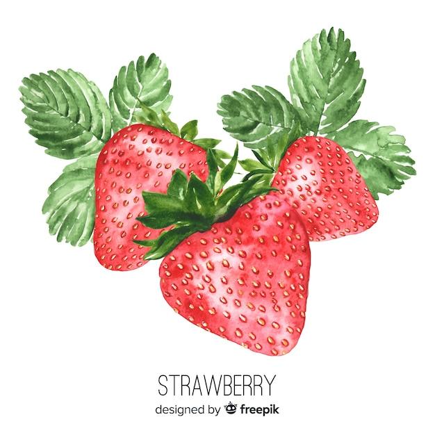 Fond de fraise réaliste aquarelle Vecteur gratuit