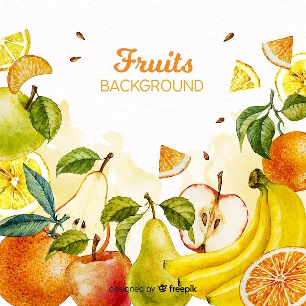 Fond de fruits aquarelle Vecteur gratuit