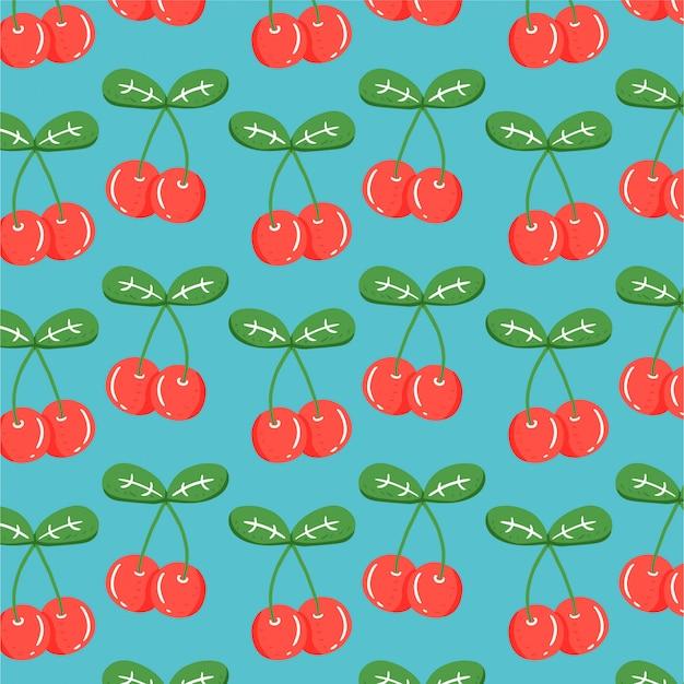 Fond De Fruits Avec Cerise Dessiné à La Main Vecteur Premium