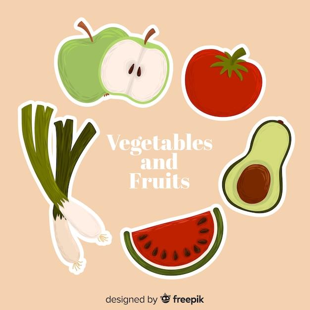 Fond de fruits et légumes dessinés à la main Vecteur gratuit