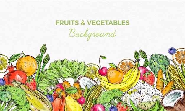 Fond De Fruits Et Légumes Vecteur gratuit