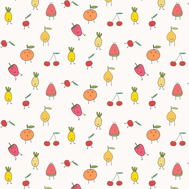 Fond de fruits mignons. Vecteur Premium