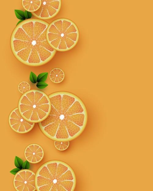 Fond De Fruits Orange. Morceaux D'orange En Tranches Avec Des Feuilles. Illustration Vectorielle. Vecteur Premium