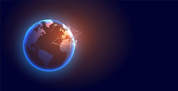 Fond Futuriste De La Terre Numérique Mondiale De La Technologie Vecteur gratuit