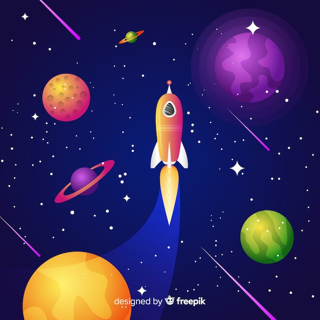 Fond de galaxie dégradé avec une fusée Vecteur gratuit