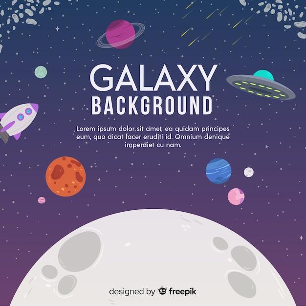 Fond de galaxie moderne avec un design plat Vecteur gratuit