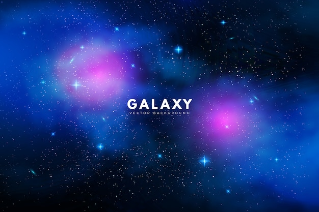 Fond de galaxie mystérieuse avec des tons violets et bleus Vecteur gratuit
