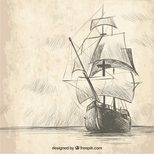 Fond de galleon dessiné à la main Vecteur gratuit
