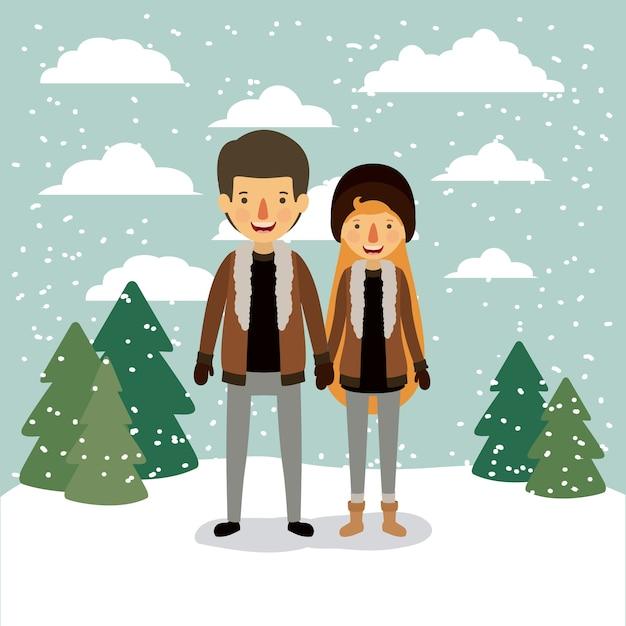 Fond de gens hiver avec couple Vecteur Premium