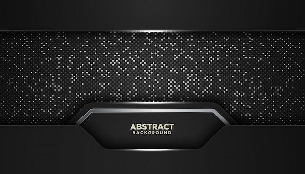 Fond Géométrique Abstrait Noir Avec Des Points De Paillettes Vecteur Premium
