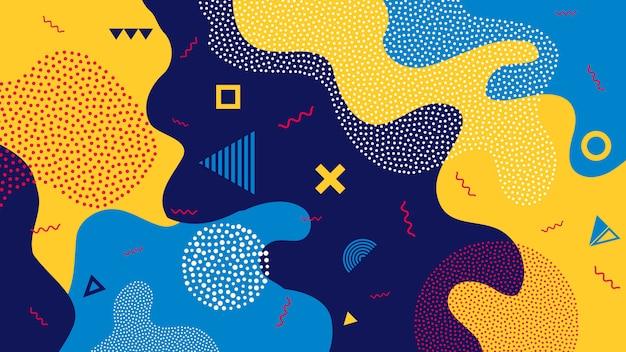 Fond géométrique enfants dessin animé couleur splash Vecteur Premium
