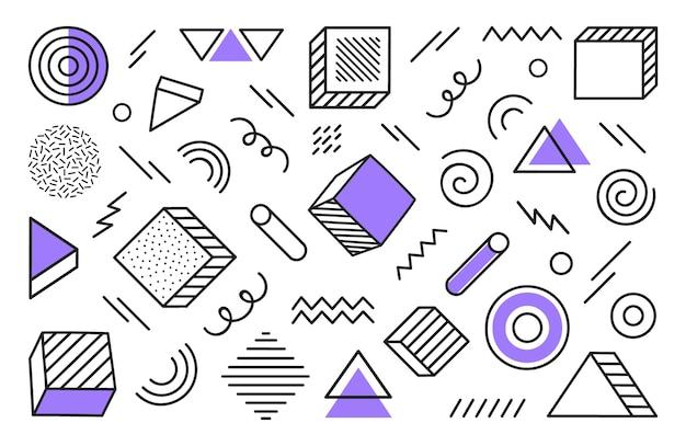 Fond Géométrique Avec Forme Abstraite Différente Dessinée à La Main. Formes Géométriques De Demi-teintes Tendance Universelles Avec Des éléments Violets. Illustration Moderne. Vecteur Premium