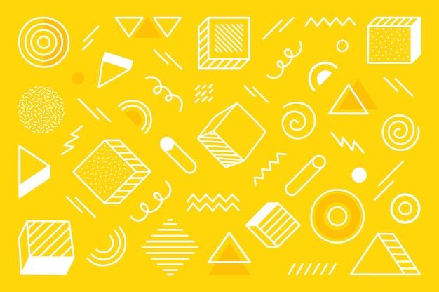 Fond Géométrique Avec Forme Abstraite Différente Dessinée à La Main. Formes Géométriques De Demi-teintes Tendance Universelles. Illustration Moderne. Vecteur Premium