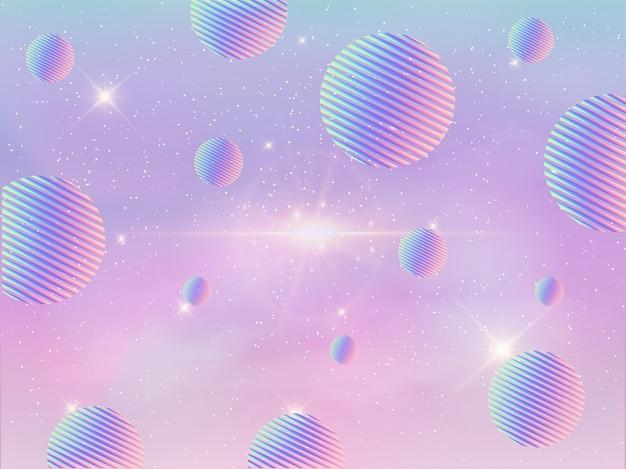 Fond géométrique holographique coloré de galaxie. Vecteur Premium