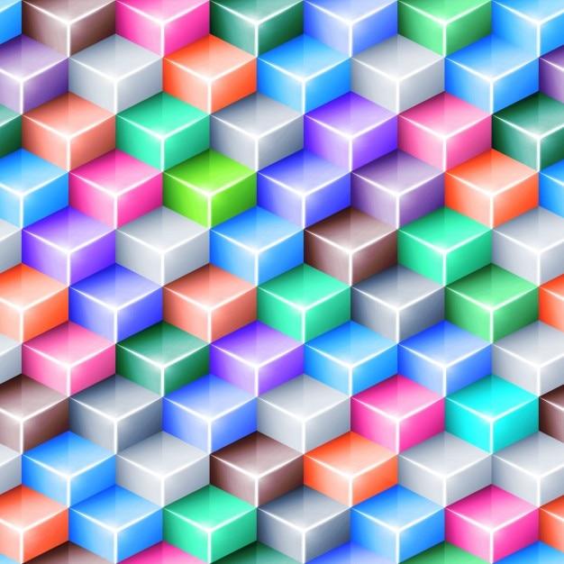 Fond géométrique multicolore avec des cubes Vecteur gratuit