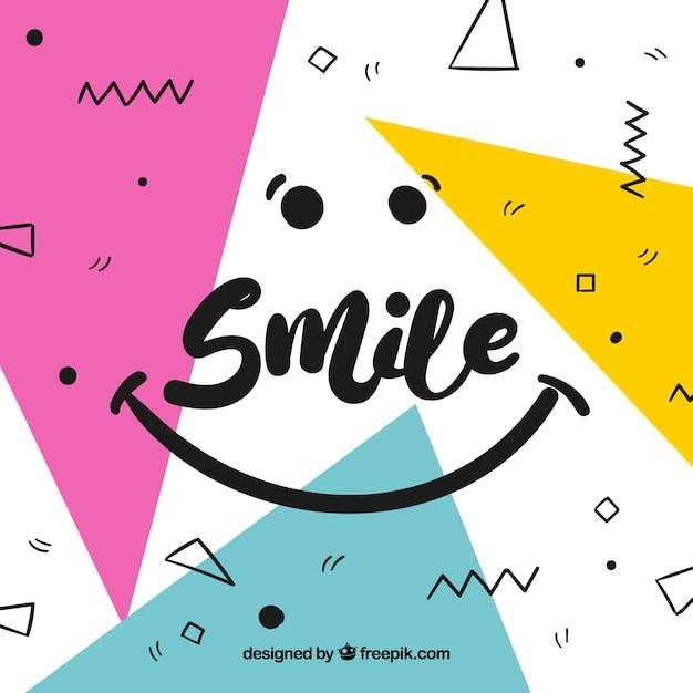 Fond géométrique sourire Vecteur gratuit