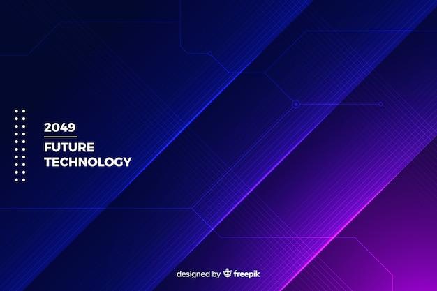Fond géométrique de technologie néons Vecteur gratuit