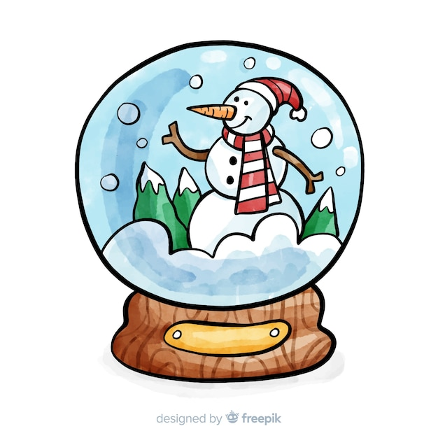 Boule A Neige De Noel Fond De Globe De Boule De Neige De Noël Aquarelle | Vecteur Gratuite