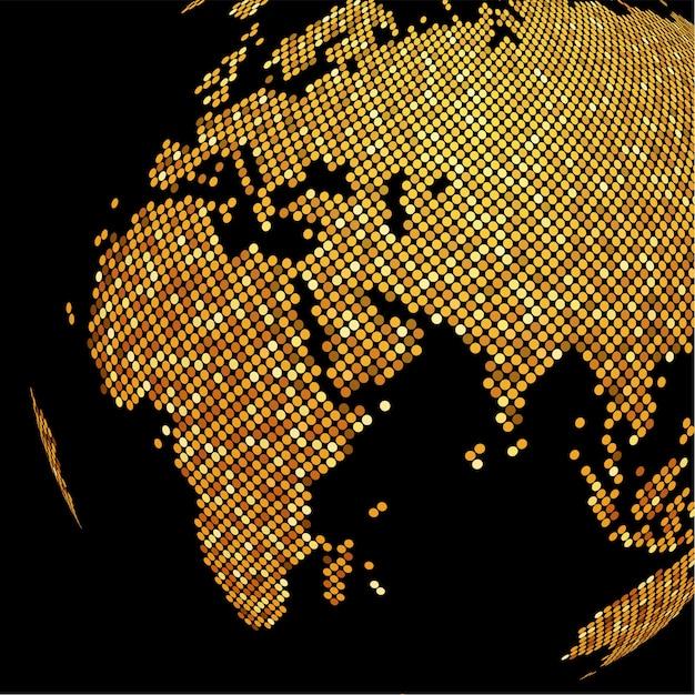 Fond de globe doré en pointillé Vecteur Premium