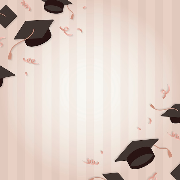 Fond De Graduation Avec Le Vecteur De Conseils De Mortier Vecteur gratuit