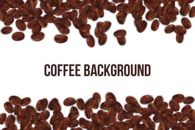 Fond de grains de café torréfaction Vecteur Premium