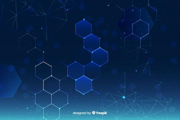Fond De Grille Hexagonale Vecteur gratuit