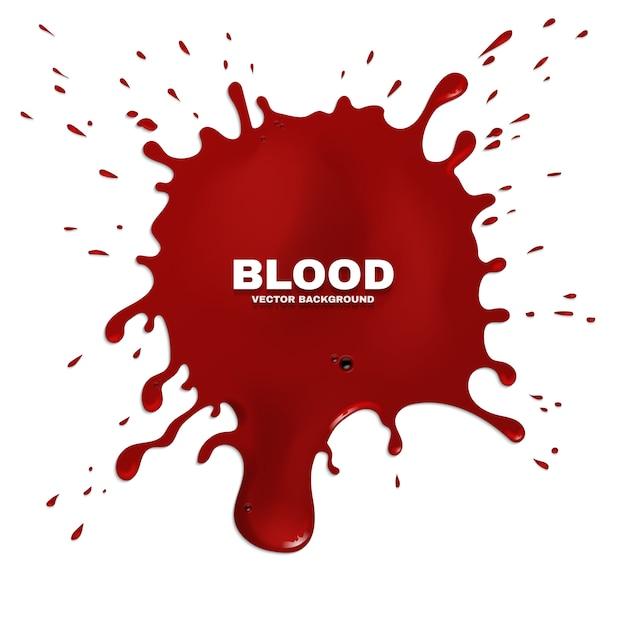 Fond grunge éclaboussures de sang rouge. tache de peinture, illustration à l'encre artistique Vecteur Premium