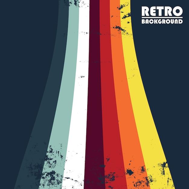 Fond grunge rétro avec des rayures colorées Vecteur Premium