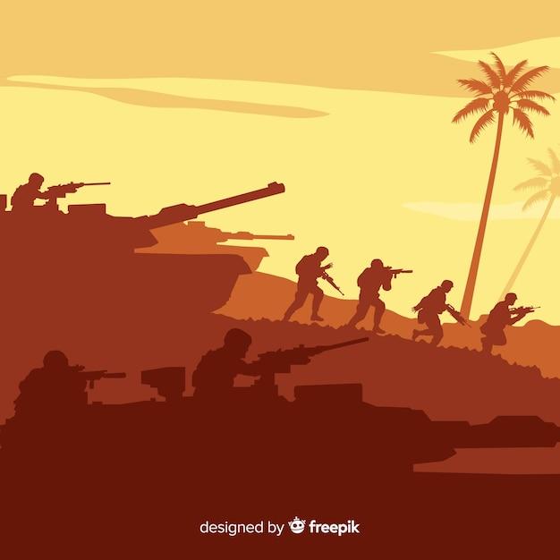 Fond De Guerre Avec Des Silhouettes De Soldats Vecteur Premium