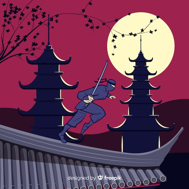 Fond De Guerrier Ninja En Design Plat Vecteur gratuit