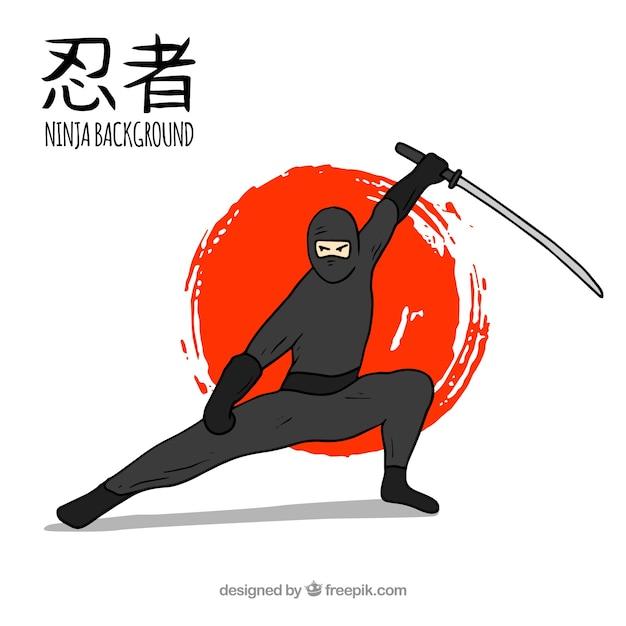 Fond De Guerrier Ninja Dessinés à La Main Vecteur Premium