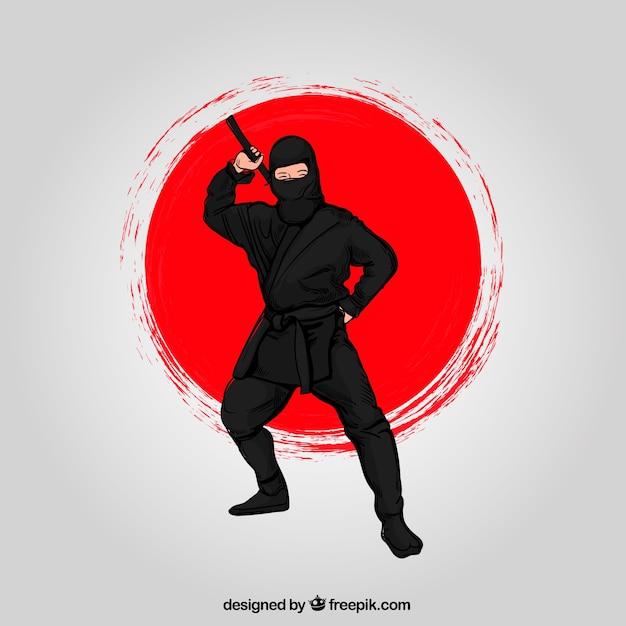 Fond De Guerrier Ninja Dessinés à La Main Vecteur gratuit