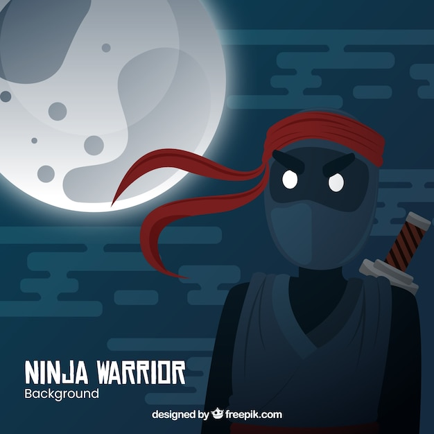 Fond de guerrier ninja traditionnel avec un design plat Vecteur gratuit