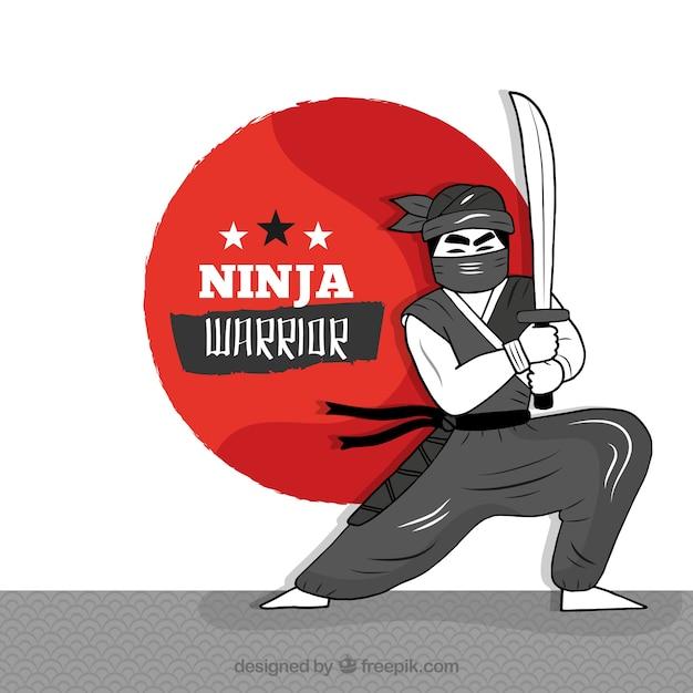 Fond De Guerrier Ninja Vecteur gratuit