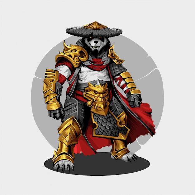 Fond de guerrier panda Vecteur Premium
