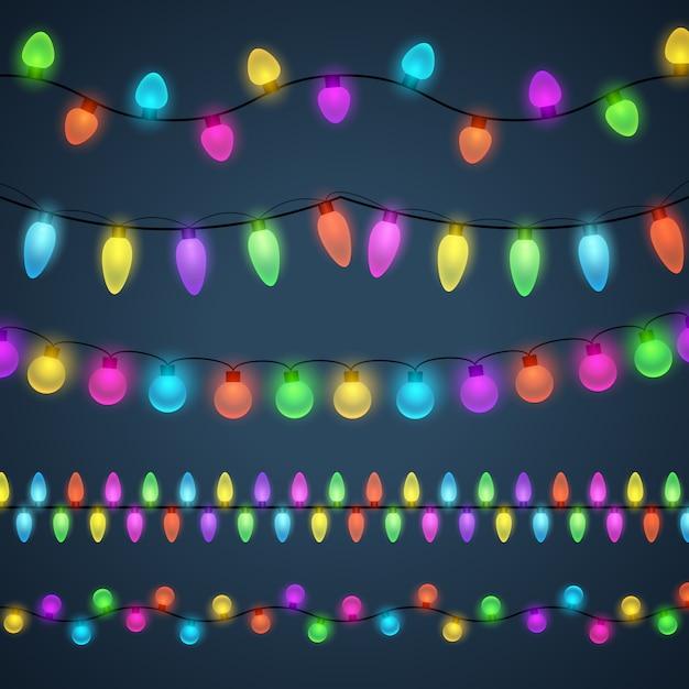 Fond de guirlandes lumineuses multicolores Vecteur gratuit