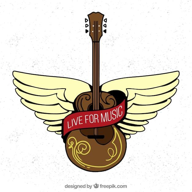 Fond Avec Guitare Acoustique En Style Dessiné à La Main Vecteur gratuit