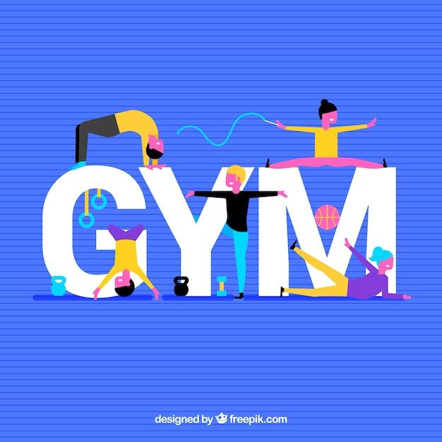 Fond de gym avec des gens colorés Vecteur gratuit