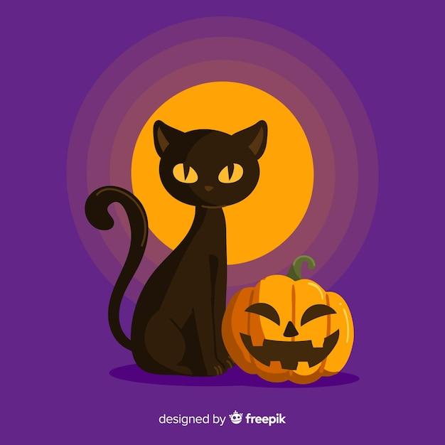 Fond d'halloween avec chat noir Vecteur gratuit