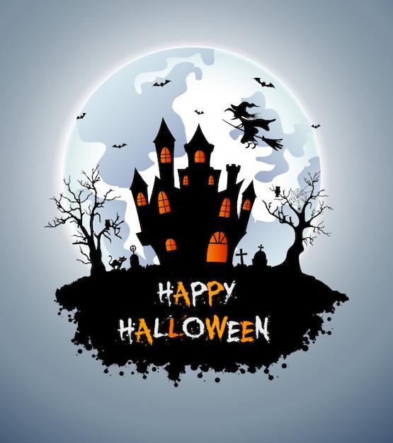 Fond d'halloween avec cimetière, chauves-souris et château Vecteur Premium