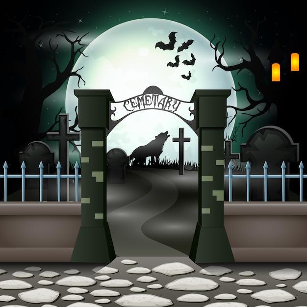 Fond d'halloween avec cimetière en pleine lune Vecteur Premium