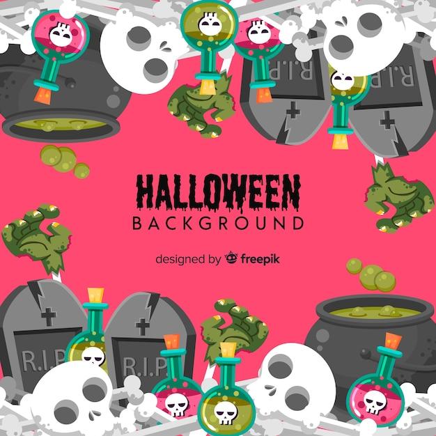 Fond de halloween décoratif avec des crânes Vecteur gratuit