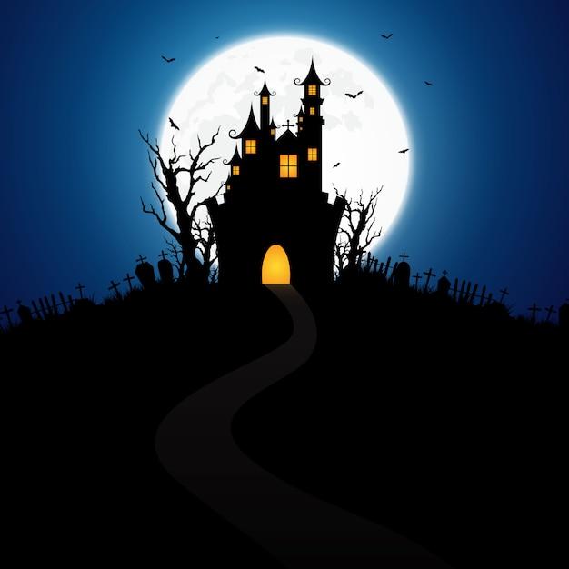 Fond d'halloween décoré avec un château Vecteur Premium