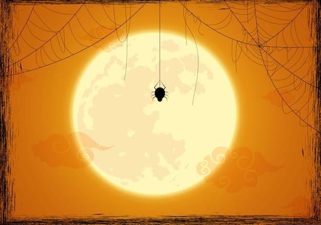 Fond d'halloween décoré et toile d'araignée Vecteur Premium
