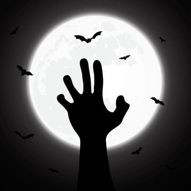 Fond d'halloween décoré de zombie Vecteur Premium