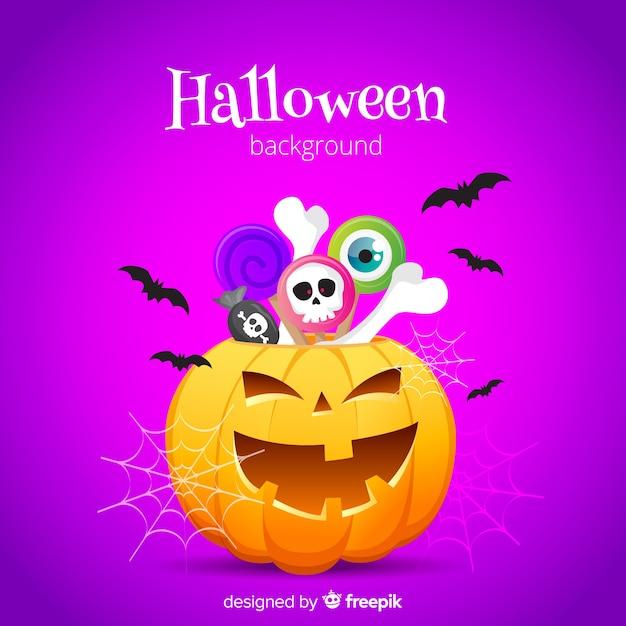 Fond d'halloween en design plat Vecteur gratuit