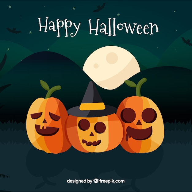 Fond de halloween dessiné main belle Vecteur gratuit