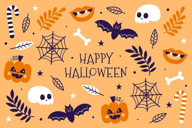 Fond D'halloween Dessiné à La Main Vecteur gratuit