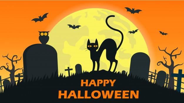 Fond d'halloween avec le diable de chat Vecteur Premium